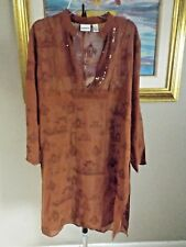 CHICO'S Brown Embroidered Asian Inspired Sequin Semi Sheer Swimsuit Cover Up 2