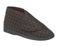Comfylux 'james' Mens Nylon Check Slippers Gents Touch Fastening Comfort Brown Ms220b UK 10