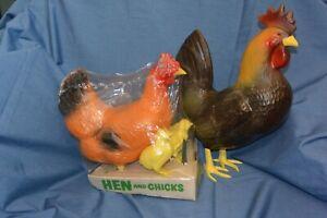 Vintage Rooster Hen Chicks Yard Decoration Plastic Blow Mold