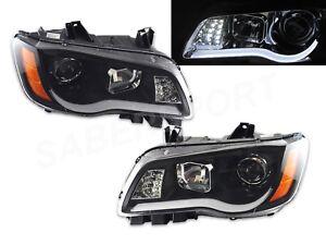 Black Halogen Projector Headlights w/ LED Bar Signal for 2011-2014 Chrysler 300