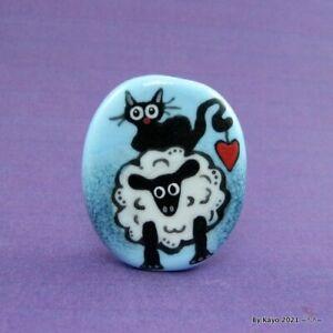 """I LOVE EWE !"" a handmade lampwork glass SHEEP & CAT pendant focal bead byKayo"