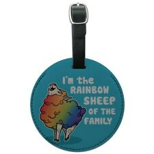 I'm The Rainbow Sheep of the Family Gay Pride Round Leather Luggage Card ID Tag