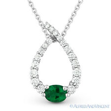 0.50ct Emerald Diamond Water Drop Charm 14k White Gold Journey Necklace Pendant