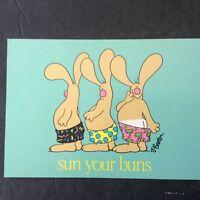 Vintage Post Card JIM  BENTON CARTOON POSTCARD - BEACH BUNNIES- SUN YOUR BUNS