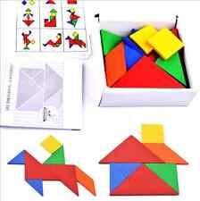 32pc/set Wooden Tangram Developmental Brain Teaser Puzzle Tetris Game Kid Toy