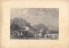 Monté Gravure c1835? Bernard Castle, Argyll par T Allom/T Higham-voir photos