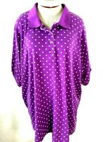 Woman Within knit polo top Size 2X purple polka dot short sleeve collar