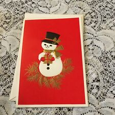 Vintage Greeting Card Christmas Snowman Top Hat Gold Scarf
