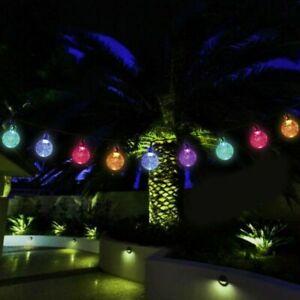 30/50 Crystal Ball Solar String Lights LED Garden Outdoor Fairy Summer Hang Lamp