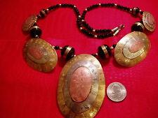 "Vintage Necklace - 24"" Long -Black Beads/Copper"