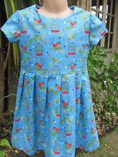 Girls Short-Sleeved Dress, Blue, Birds, 4-5 Years, New, Handmade