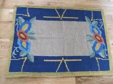 "Folk Art Rug Handmade Antique Blue Yellow Tan Flowers Yarn 33""x43"""