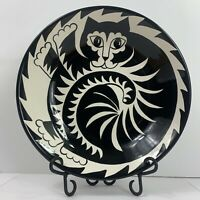 Cats By Nina Lyman Food Serving Bowl Dish Black And White Spiral Large Ceramic