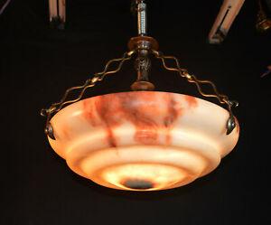 Vintage 1930s art deco French tiered veined Alabaster plafonier light fixture