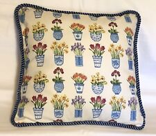 Fresh Farm French Country Cottage Floral Provence Blue Ivory White Pillow Englis