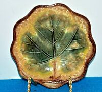 Antique 19th Century MAJOLICA MAPLE LEAF DISH SCALLOPED EDGE 7""