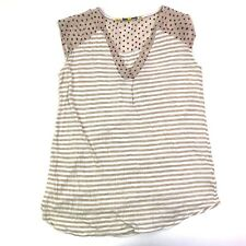 Little yellow button anthropologie striped polka dot cap sleeve v neck top small