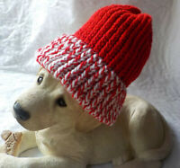 THICK Ribbed Beanie Knit Hat Ski Cap Skull Warm Winter Cuff Red-Whte (CandyCane)