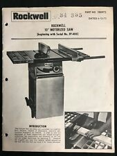"Rockwell 10"" Motorized  Saw (Model FP-400) 20 Page Instruction Manual 6-15-73"