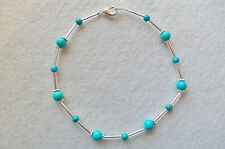 ANKLE BRACELET TURQUOISE Beads with Silver Glass Lined Bugle Beads NEW 9¾""