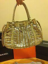 Authentic Anya Hindmarch Metallic Gold Weave Leather Tassel Handbag Limited