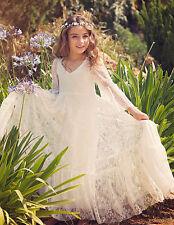 Flower Girl Dress Kid Elegant Lace Dress Wedding Party Birthday Long Dress 2-13T