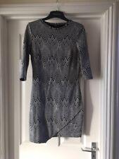 MANGO Bodycon Black And White Patterned Herringbone Cotton Stretch Mini Dress