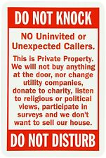 """Warning NO Soliciting DO NOT knock private property 12"""" x 8"""" Aluminum Sign USA"""