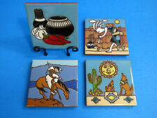 "Ceramic Art Tile 4""x4"" 4 pc Coaster Set w/Stand Southwest Collection New Cs84"