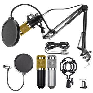 BM-800 Condenser Microphone Kit Studio Pop Filter Boom Scissor Arm Stand Mount