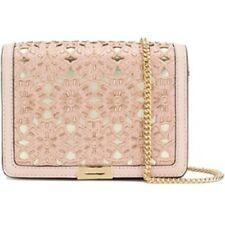 MICHAEL Kors Soft Pink Floral Cutout Jade Medium Gusset Clutch Evening Bag Purse