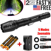 Tactical 90000LM T6 LED Zoom Police Flashlight Torch Lamp+18650 Battery&Charger