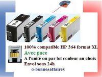 Cartouche d'encre compatible HP 364 XL Gde capacité Haute Qualité avec puce 48H