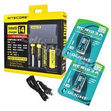 New NITECORE i4 Charger with 2 X OLIGHT 650mAh RCR123A 16340  li-ion batteries