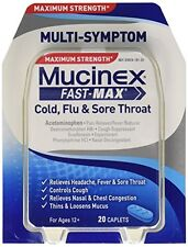 Mucinex Fast Max Cold Flu Sore Throat 20 Caplets Each