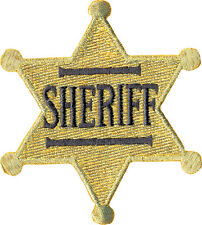 39198 Old Fashioned Retro Gold Sheriff's Badge Cop Sew Iron On Patch / Badge