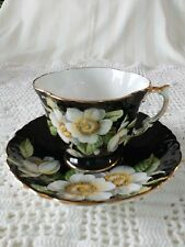 Aynsley  TeaCup and Saucer -Black Square Sided with Dogwood flowers