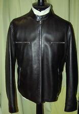 NWT ERMENEGILDO ZEGNA mens black lambskin zip leather jacket 54 44 $5295 ITALY