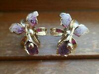 Vintage Gold Tone Purple Enamel Orchid Flower Screw Back Earrings