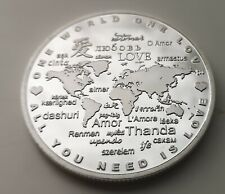 Love Silver Coin All Cupid Bow Arrow Heart Rose Flowers Map of World Languages