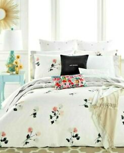 "NWT KATE SPADE Willow Court Floral ""Queen"" Comforter Set 3 Pc. White/Pink/Gray"