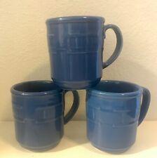 3 Longaberger Pottery Mugs - Woven Traditions - Royal Blue