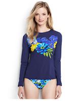 Lands'End Petite Long Sleeve Swim Tee Rash Guard PXS Deep Sea Floral 477801 j