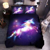 Glitter Unicorn Duvet Quilt Cover Set Kids Comforter Cover Pillow Case All Sizes