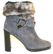 Women's Shoes Stuart Weitzman FURSTUP Faux Fur Boots Heels Suede SLATE GREY