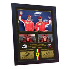 Sebastian Vettel Kimi Raikkonen Ferrari signed autograph print photo FRAMED #017