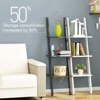 US 3-Tier Ladder Shelf Bookshelf Bookcase Storage Display Leaning Office Decor