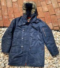 Vintage 70s N3-B Snorkel Parka Men's Size Navy Blue Hooded Jacket Coat Worn