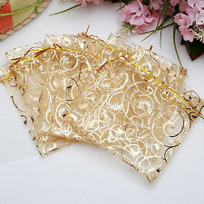 25 PCS Golden Drawstring Organza Wedding Gift Jewellery Candy Pouch Bags Fashion
