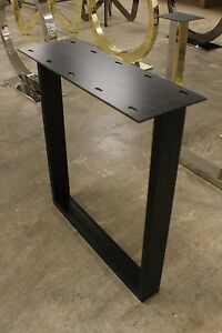 """27"""" H Set of base legs black iron mounting plate dining table slab wood concrete"""